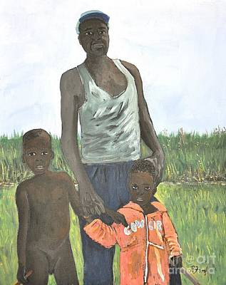 African Child Painting - Uganda Family by Reb Frost