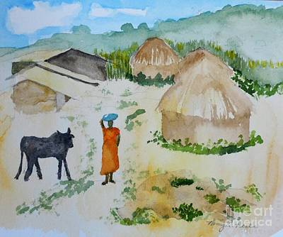 Ugandan Bowl Painting - Ugandan Homestead by Nancy Peele