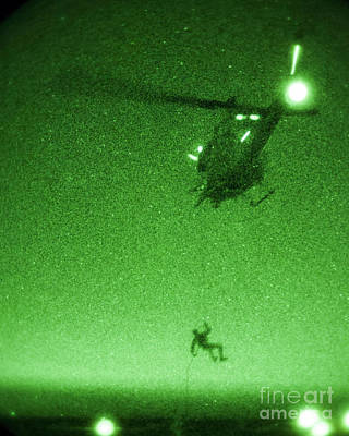 Marine Painting - Uh-1n Huey Helicopter On A Night Mission by Celestial Images