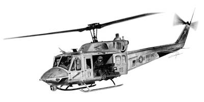 Helicopter Drawing - Uh-1n Iroquois by Dale Jackson