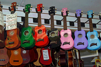 Ukeleles For Sale Print by Suzanne Gaff