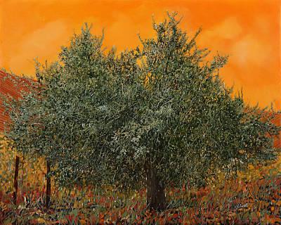 Olive Tree Painting - Un Altro Ulivo Al Tramonto by Guido Borelli