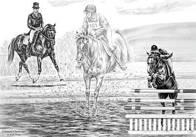 Stadiums Drawing - Ultimate Challenge - Eventing Horse Print by Kelli Swan