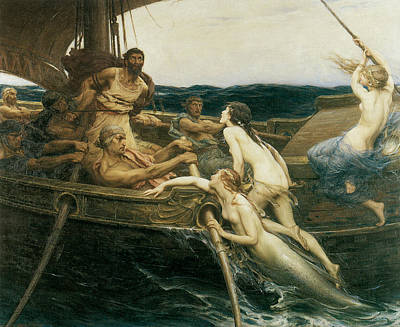 Ulysses And The Sirens Print by Herbert Draper