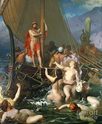 Greek Painting - Ulysses And The Sirens by Leon Auguste Adolphe Belly