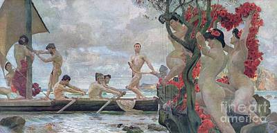 Mermaid Drawing - Ulysses And The Sirens by Otto Greiner