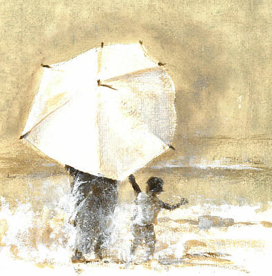Umbrella And Child Two Print by Lincoln Seligman