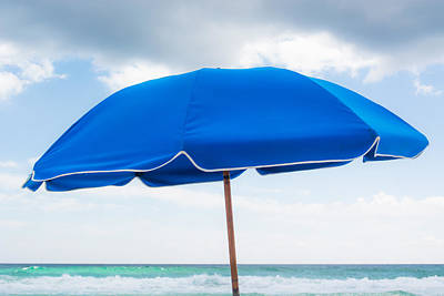 Umbrella On The Beach Print by Shelby  Young
