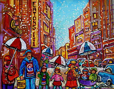 Montreal Winter Scenes Painting - Umbrella Painting Snowy Rainy Day Rue St Catherine April Snow Showers Downtown Montreal Art        by Carole Spandau