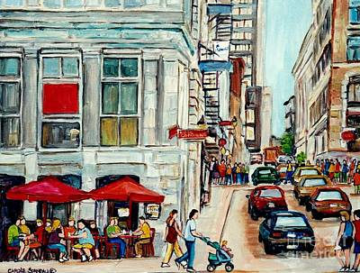Baby Carriage Painting - Umbrellas And Cafes Old Port Vieux Montreal Painting Quebec Art Canadian Summer Scene      by Carole Spandau