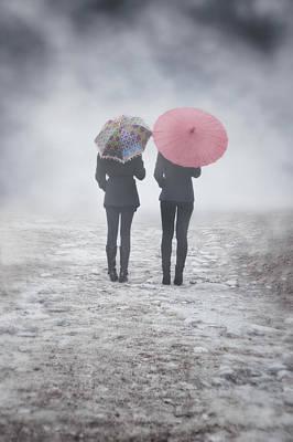 Umbrellas In The Mist Print by Joana Kruse