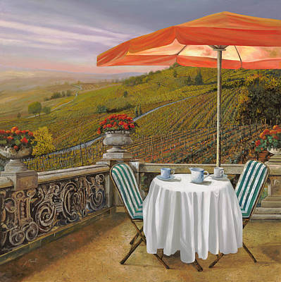 Vineyards Painting - Un Caffe by Guido Borelli