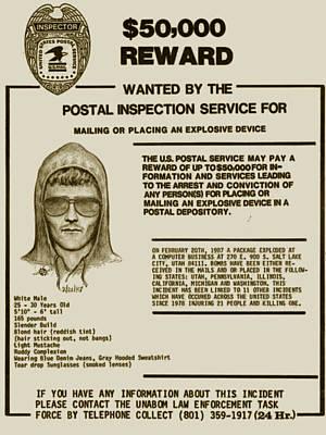 Unabomber Ted Kaczynski Wanted Poster 2 Original by Tony Rubino