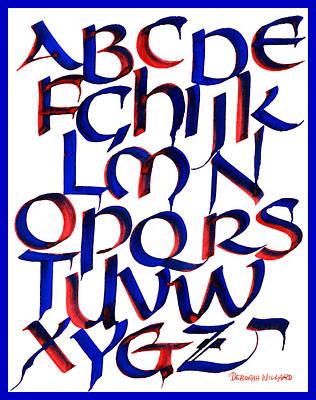 Blending Drawing - Uncial Alphabet In Red And Blue by Deborah Willard