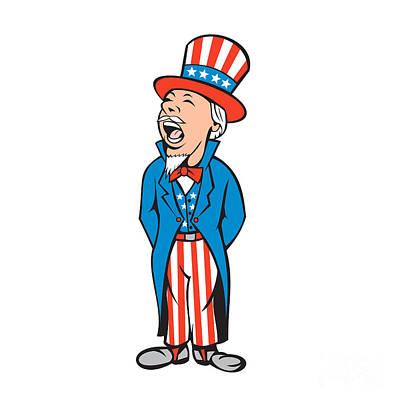 Uncle Sam Digital Art - Uncle Sam American Shouting Cartoon by Aloysius Patrimonio