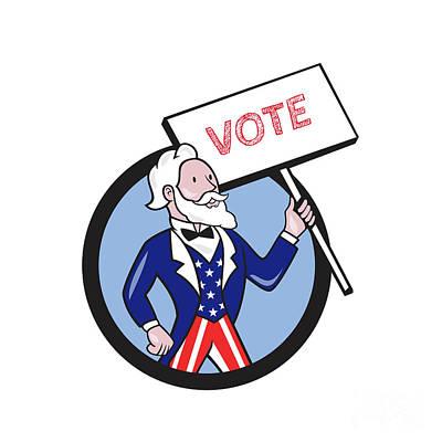 Uncle Sam Digital Art - Uncle Sam Holding Placard Vote Circle Cartoon by Aloysius Patrimonio