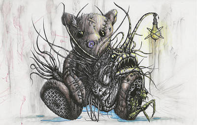 Teddy Bear Mixed Media - Unconditional Love, Spooning With Angler by Tai Taeoalii