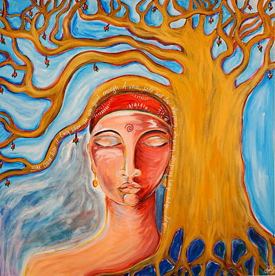 Tree Roots Painting - Under The Bodhi Tree by Theresa Marie Johnson