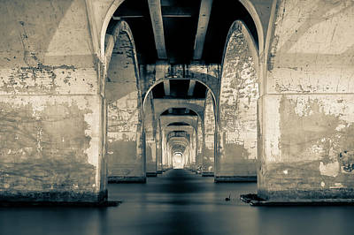 Bridge Photograph - Water Under The Bridge In Black And White by Gregory Ballos