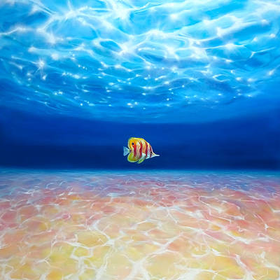 Under The Crystal Ocean - A Large Oil Painting Of A Lone Fish Under Blue Sea Print by Gill Bustamante