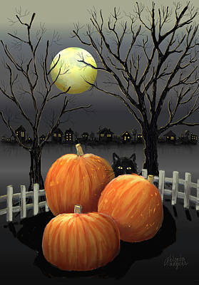 Halloween Cards Digital Art - Under The Full Moon by Arline Wagner