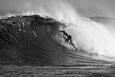 Kelly Slater Photograph - Under The Lip In Black And White by Paul Topp
