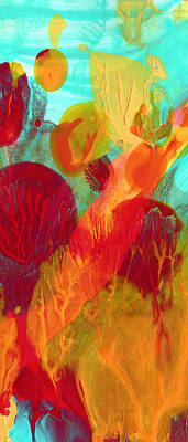 Under The Ocean Painting - Under The Sea Abstract Panoramic 2 by Amy Vangsgard