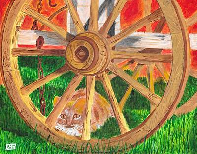 Old Wooden Wagon Painting - Under The Wagon by David Bigelow