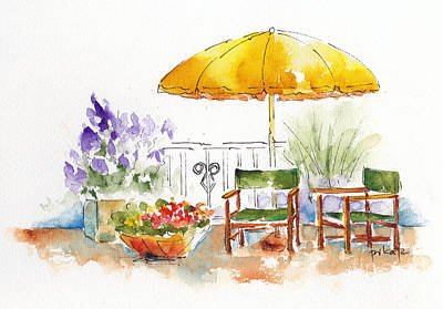 Lawn Chairs Painting - Under The Yellow Umbrella by Pat Katz