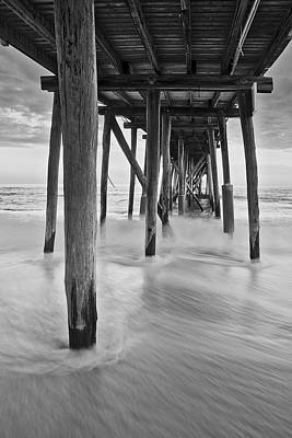 Sunrise Photograph - Underneath The Pier At The Jersey Shore  Bw by Susan Candelario