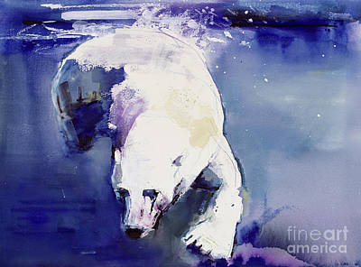 Bear Painting - Underwater Bear by Mark Adlington