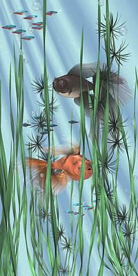 Goldfish Digital Art - Underwater Empire by Nathan Ryan