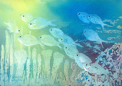 Fishes Painting - Underwater School by Arline Wagner