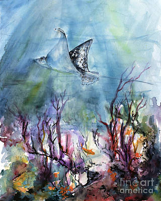 Underwater World Ray And Coral Reefs Print by Ginette Callaway