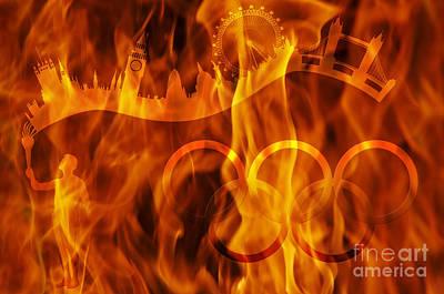 London Eye Digital Art - undying Olympic flame by Michal Boubin