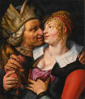 Hendrik Goltzius Painting - Unequal Lovers by Hendrik Goltzius