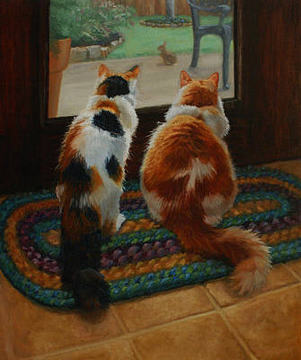 Rag Rug Painting - Unexpected Guest by Vicky Gooch