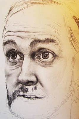 Burmese Python Drawing - Unfinished John Cleese by Serenity Baumer