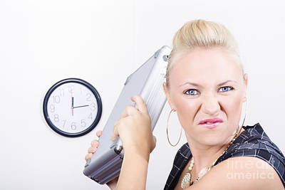 Frustration Photograph - Unhappy Business Person Throwing Office Fit by Jorgo Photography - Wall Art Gallery