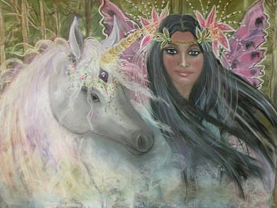 Unicorn Faery Mother Print by Coral Lee
