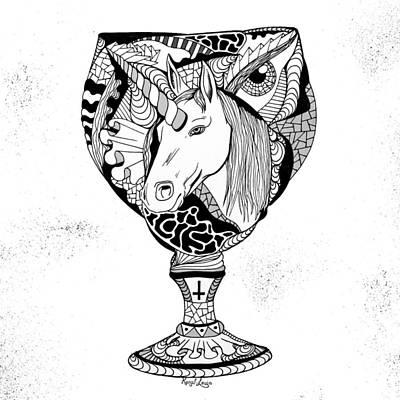 Unicorn Goblet Print by Kenal Louis