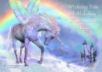 Extinct And Mythical Mixed Media - Unicorn Of The Rainbow Card by Carol Cavalaris