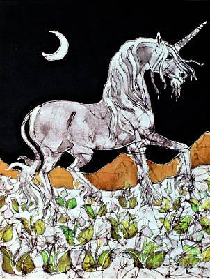 Unicorn Over Flower Field Print by Carol  Law Conklin
