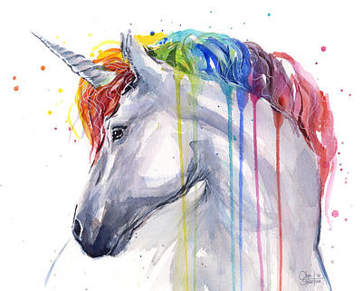 Extinct And Mythical Mixed Media - Unicorn Rainbow Watercolor by Olga Shvartsur