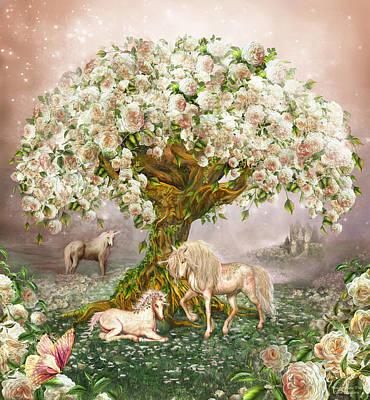 Unicorn Rose Tree Print by Carol Cavalaris
