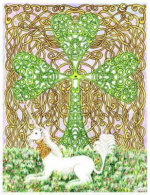Unicorn With Shamrock Print by Lise Winne