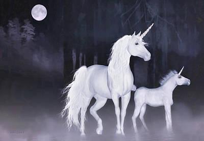 Fantasy Digital Art - Unicorns In The Mist by Valerie Anne Kelly