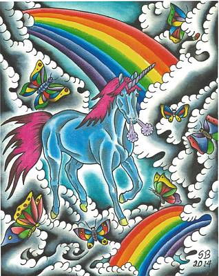 Unicorns Rainbows And Butterflies Print by Scott Bohrer