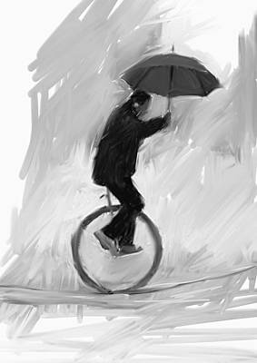 Umbrellas Digital Art - Unicycle, Umbrella, Rope by H James Hoff