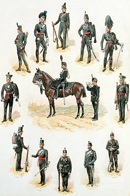 Horseback Drawing - Uniforms Of The Rifle Brigade by Richard Simkin